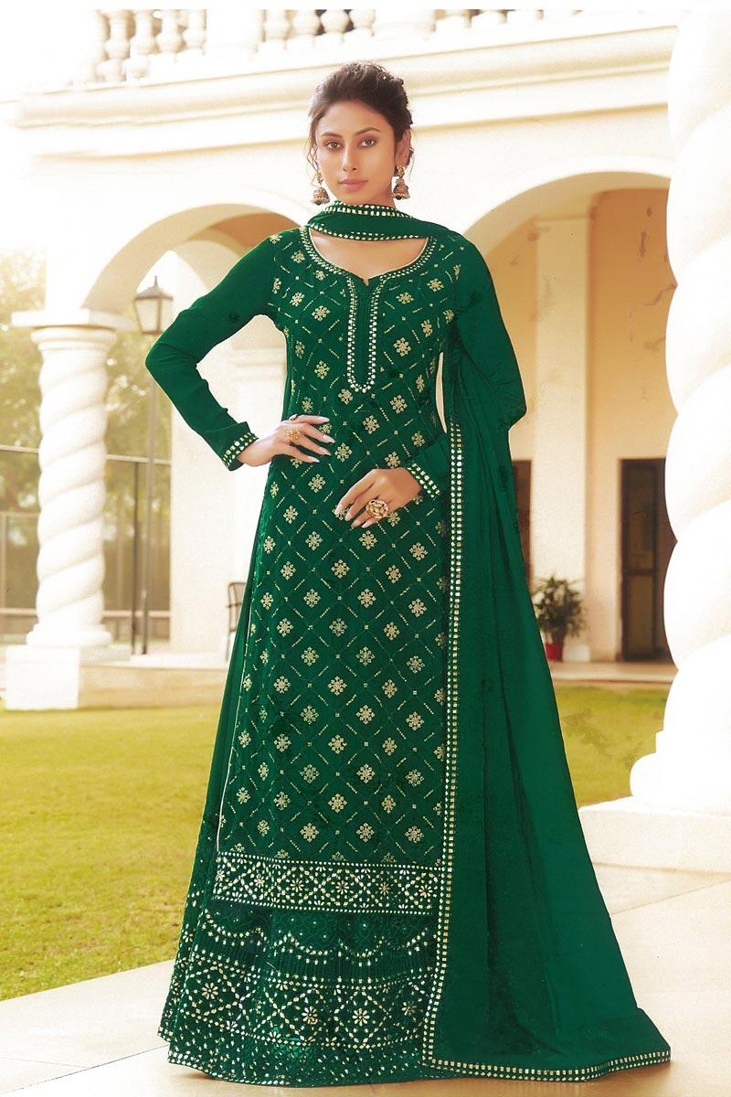 Chinon Fabric Embroidered Wedding Wear Fancy Sharara Top Lehenga In Green Color