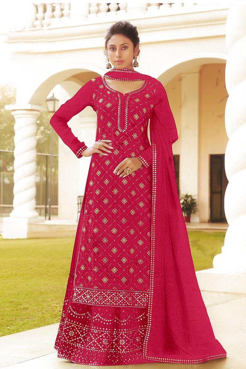 Embroidered Reception Wear Stylish Sharara Top Lehenga In Rani Color Chinon Fabric
