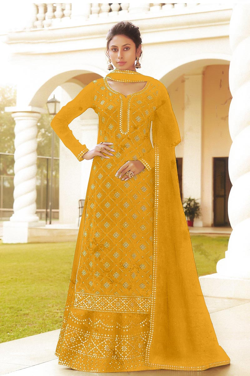 Chinon Fabric Embroidered Sangeet Wear Trendy Sharara Top Lehenga In Yellow Color