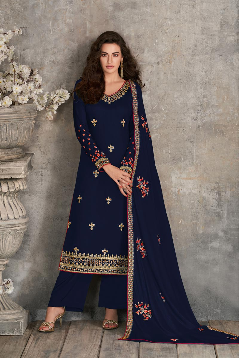 Navy Blue Color Party Style Fancy Embroidered Georgette Fabric Palazzo Suit