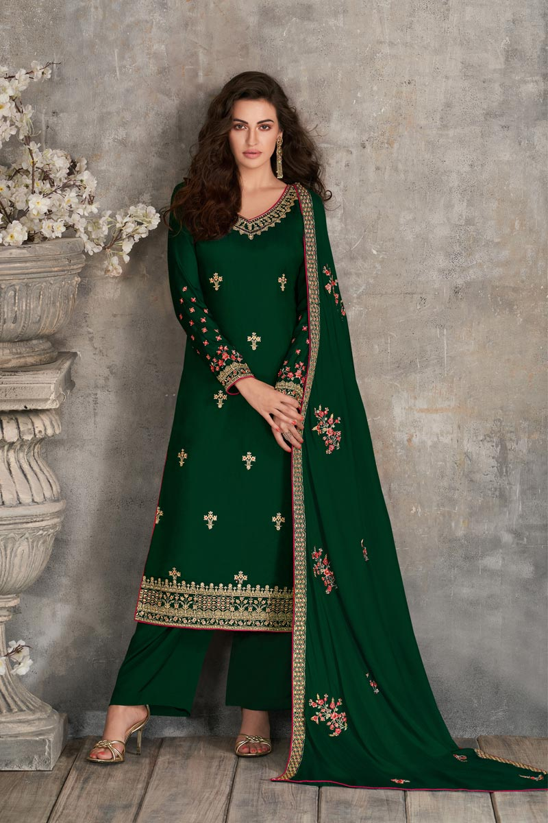 Green Color Party Style Fancy Embroidered Georgette Fabric Palazzo Dress