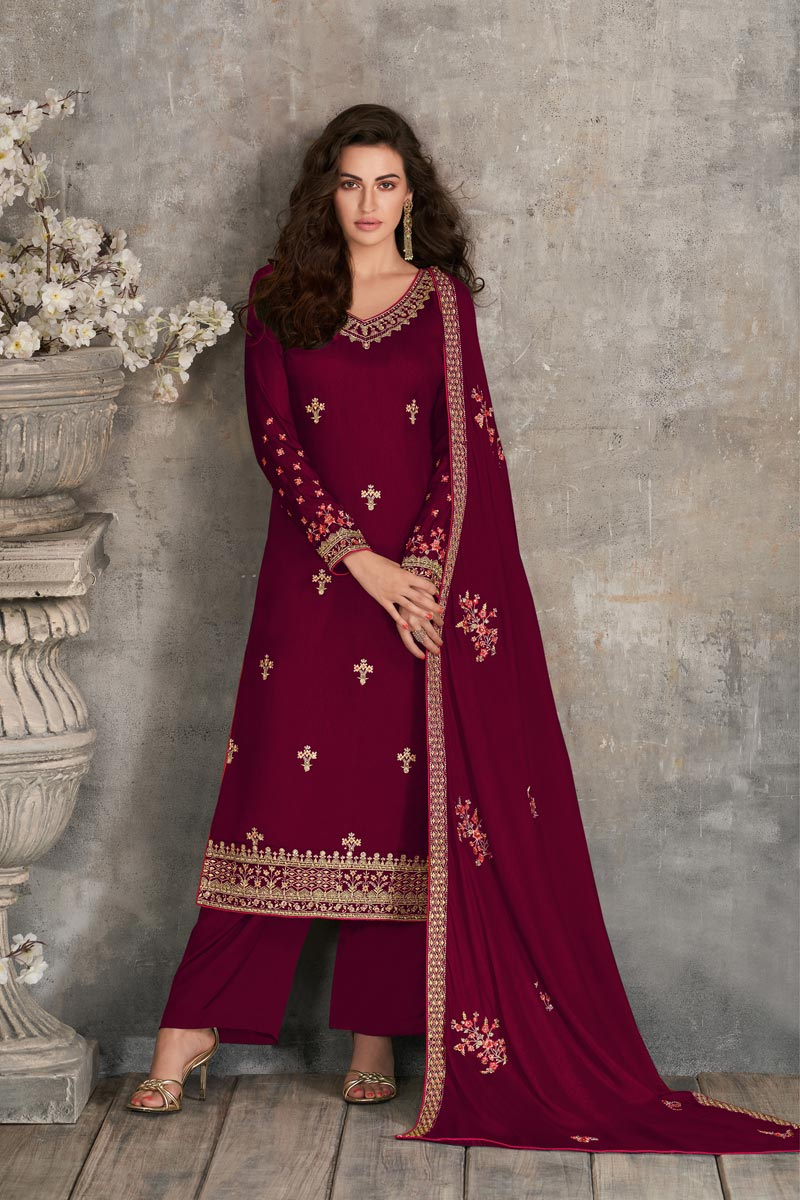 Georgette Fabric Party Style Maroon Color Fancy Embroidered Palazzo Suit