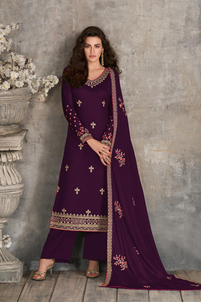 Purple Color Georgette Fabric Party Style Fancy Embroidered Palazzo Dress
