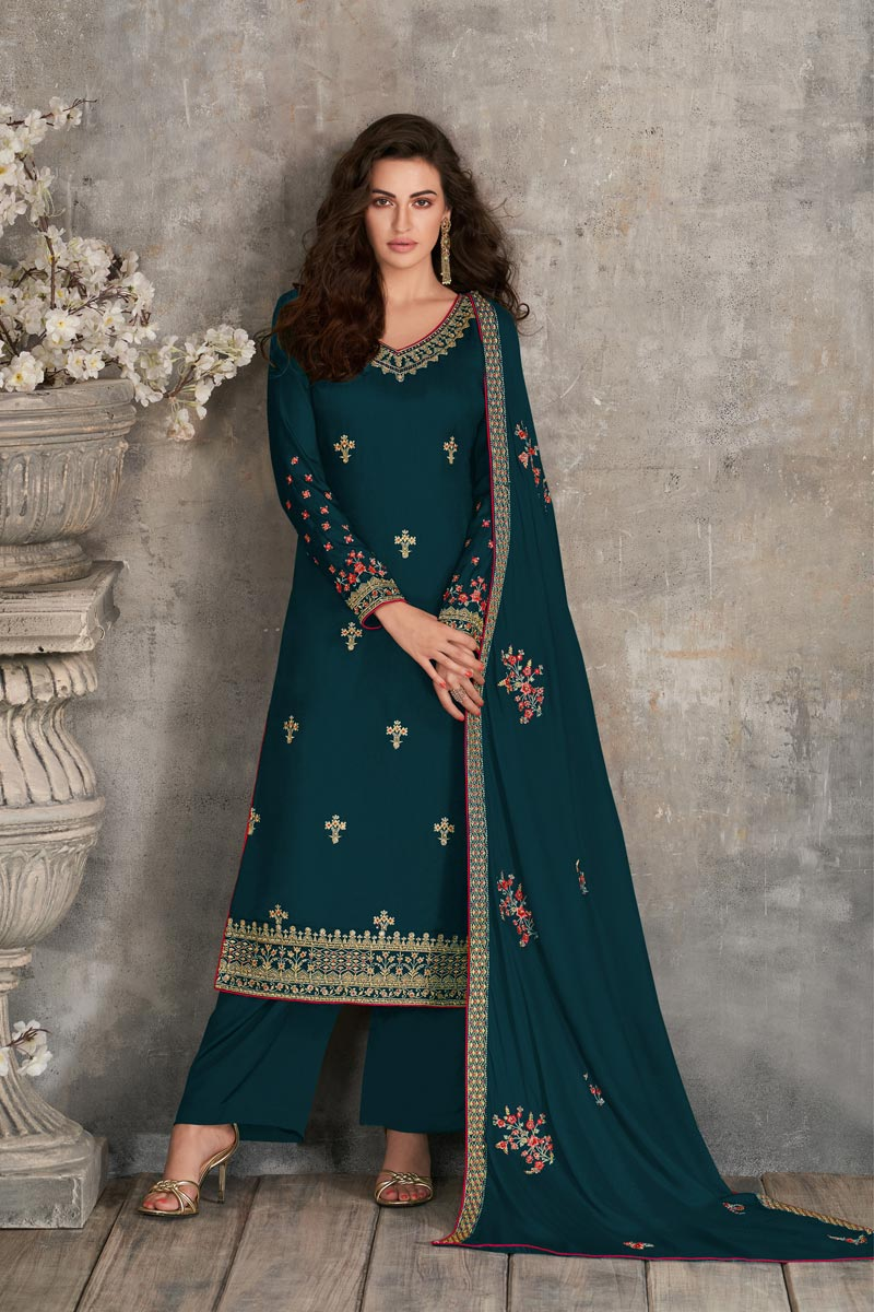 Georgette Fabric Party Style Fancy Embroidered Palazzo Dress In Teal Color