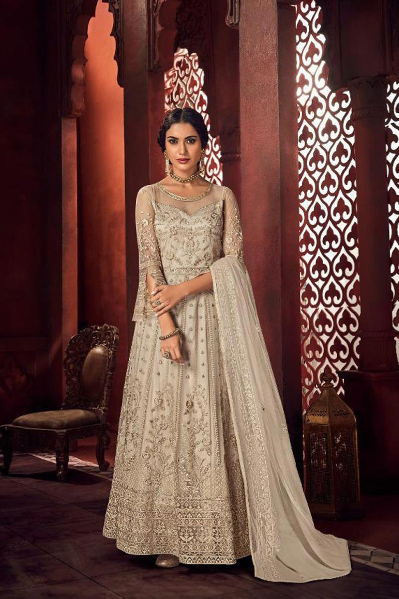 Cream Color Chic Function Wear Embroidered Anarkali Dress In Net Fabric