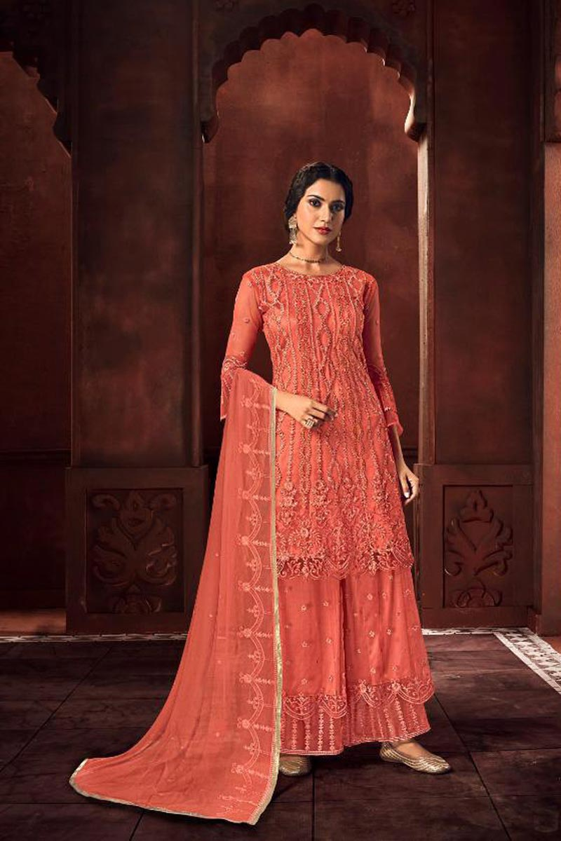 Net Fabric Function Wear Peach Color Chic Embroidered Palazzo Suit