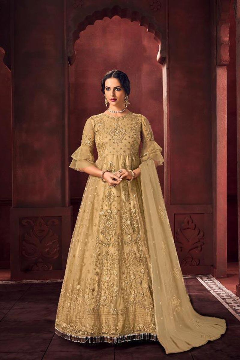 Function Wear Beige Color Chic Net Fabric Embroidered Anarkali Dress