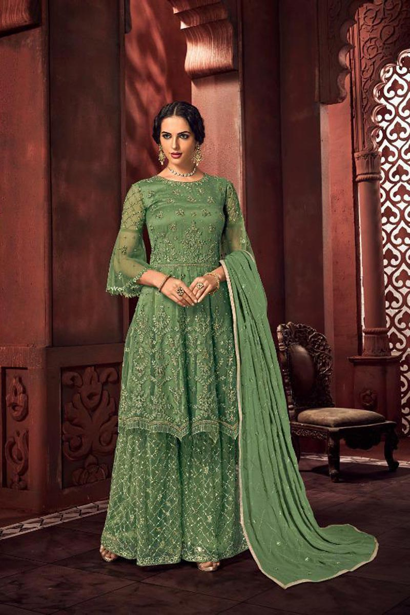 Net Fabric Function Wear Chic Embroidered Palazzo Suit In Green Color
