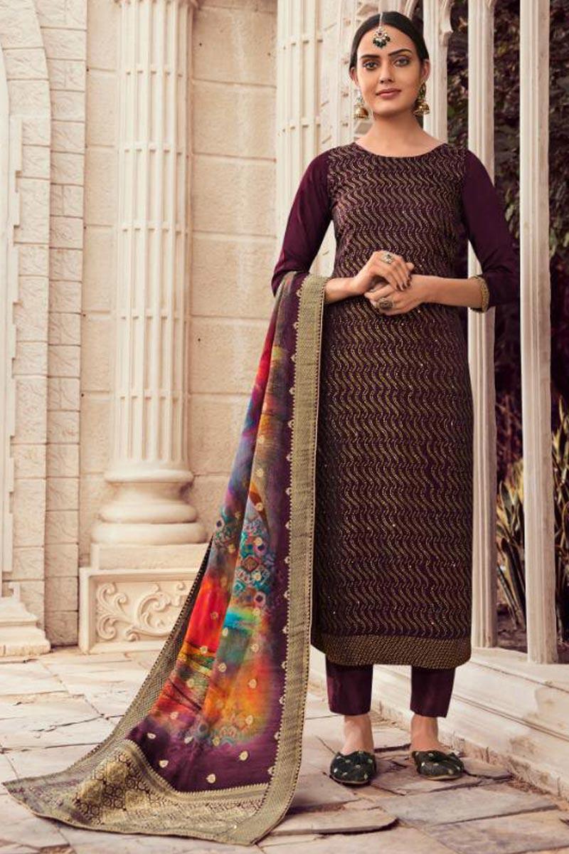 Fancy Wine Color Salwar Suit In Art Silk Fabric With Digital Printed Dupatta