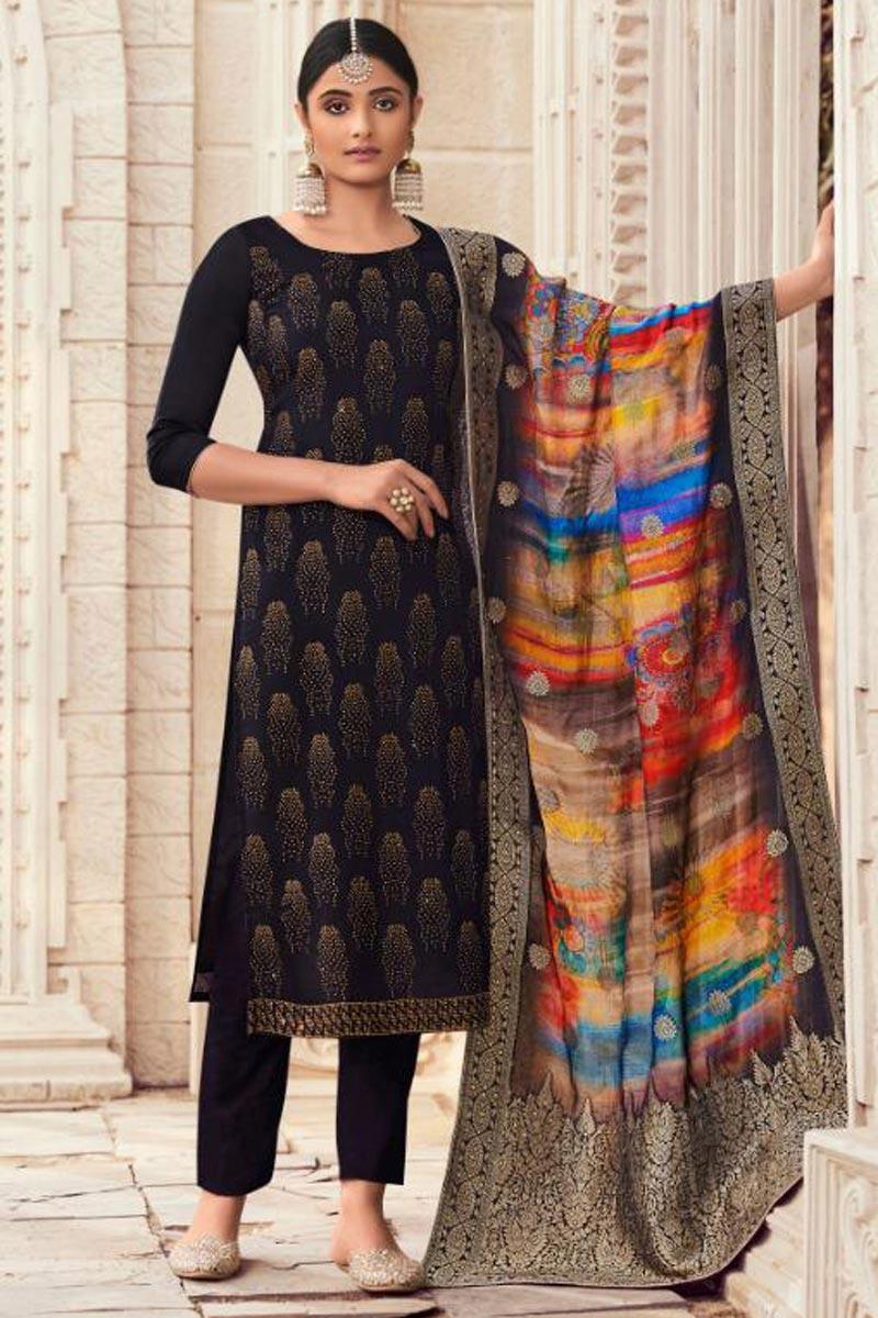 Black Color Fancy Salwar Suit In Art Silk Fabric With Digital Printed Dupatta