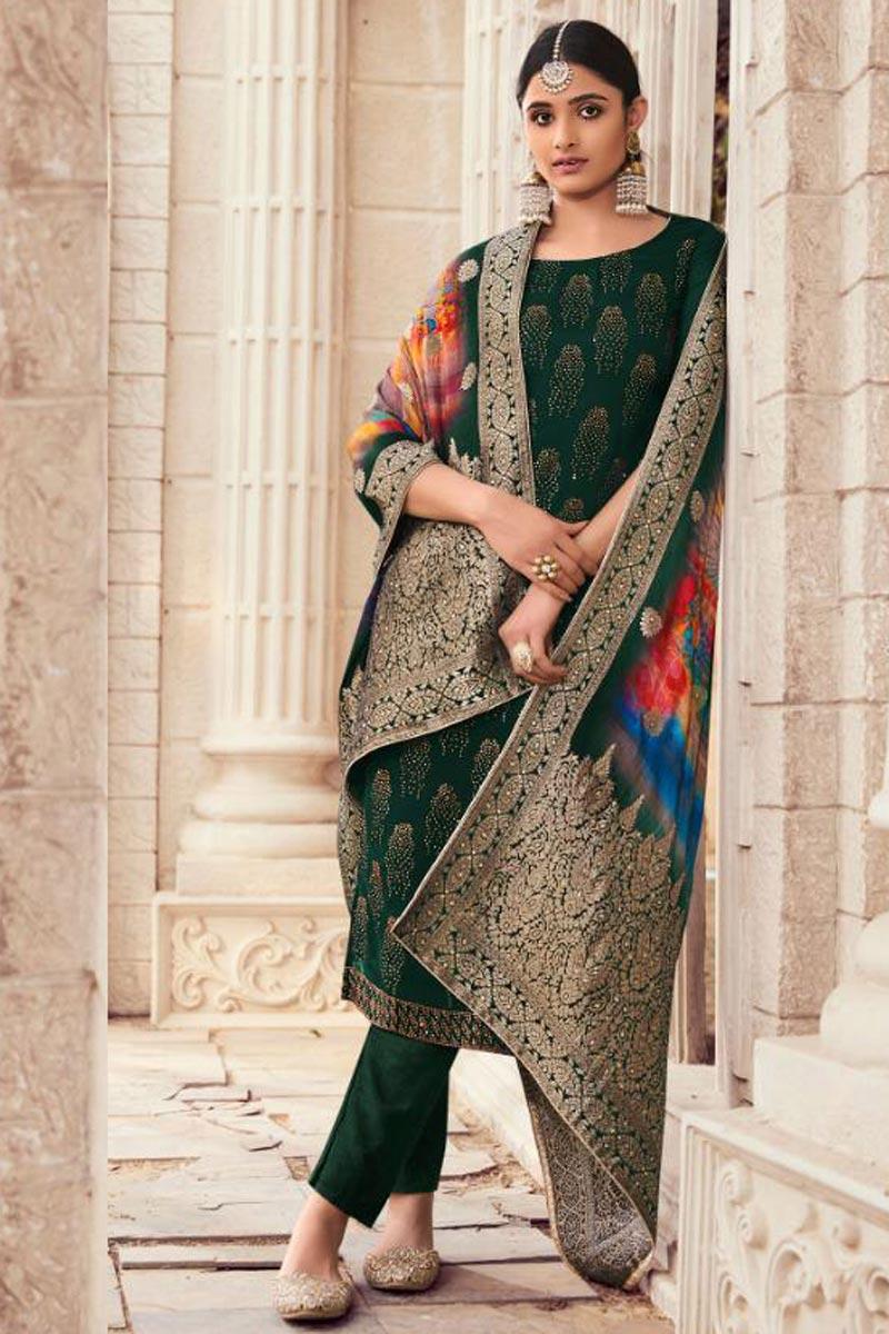 Art Silk Fabric Dark Green Color Fancy Salwar Suit With Digital Printed Dupatta