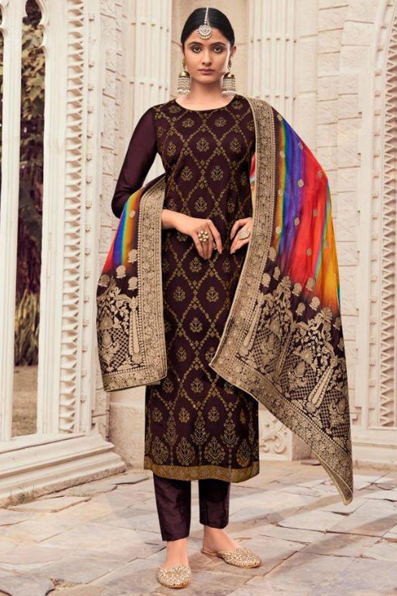 Brown Color Fancy Art Silk Fabric Salwar Suit With Digital Printed Dupatta