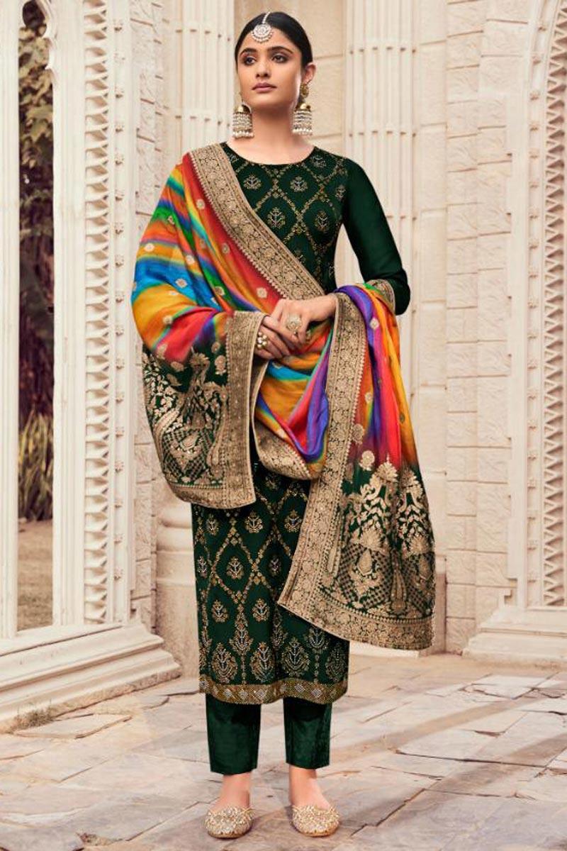 Art Silk Fabric Fancy Salwar Suit In Dark Green Color With Digital Printed Dupatta