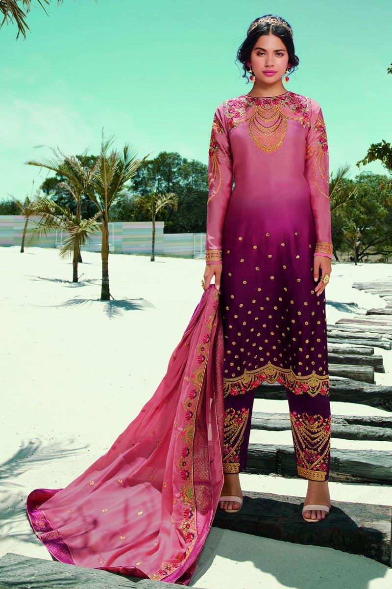 Pink Color Fancy Embroidered Satin Georgette Fabric Salwar Suit
