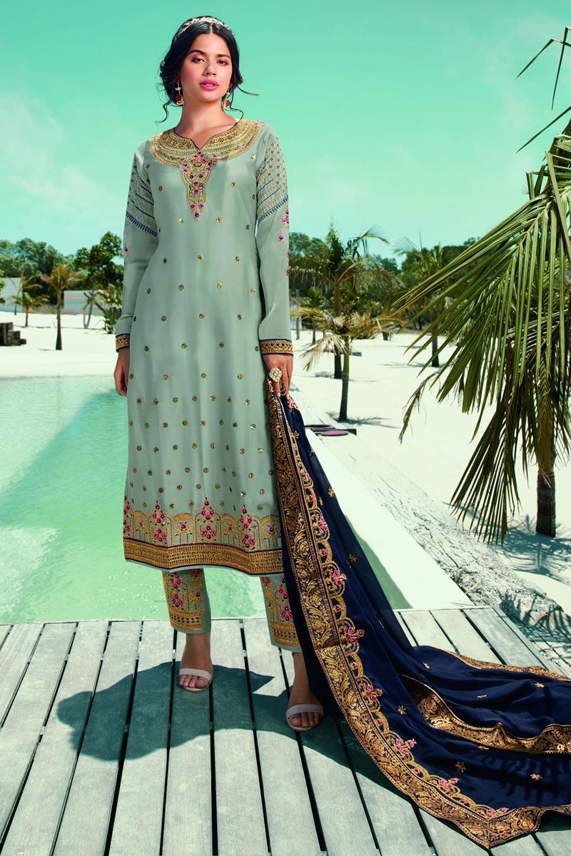 Sea Green Color Fancy Embroidered Satin Georgette Fabric Salwar Kameez