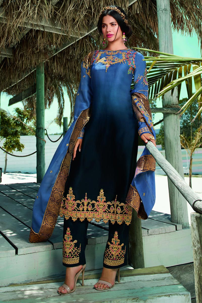 Satin Georgette Fabric Blue Color Fancy Embroidered Salwar Suit