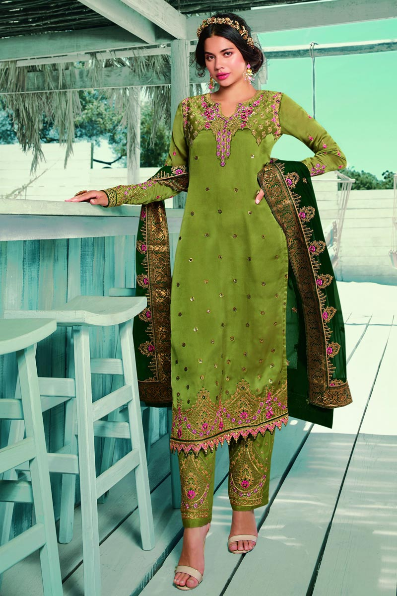 Green Color Satin Georgette Fabric Fancy Embroidered Salwar Kameez