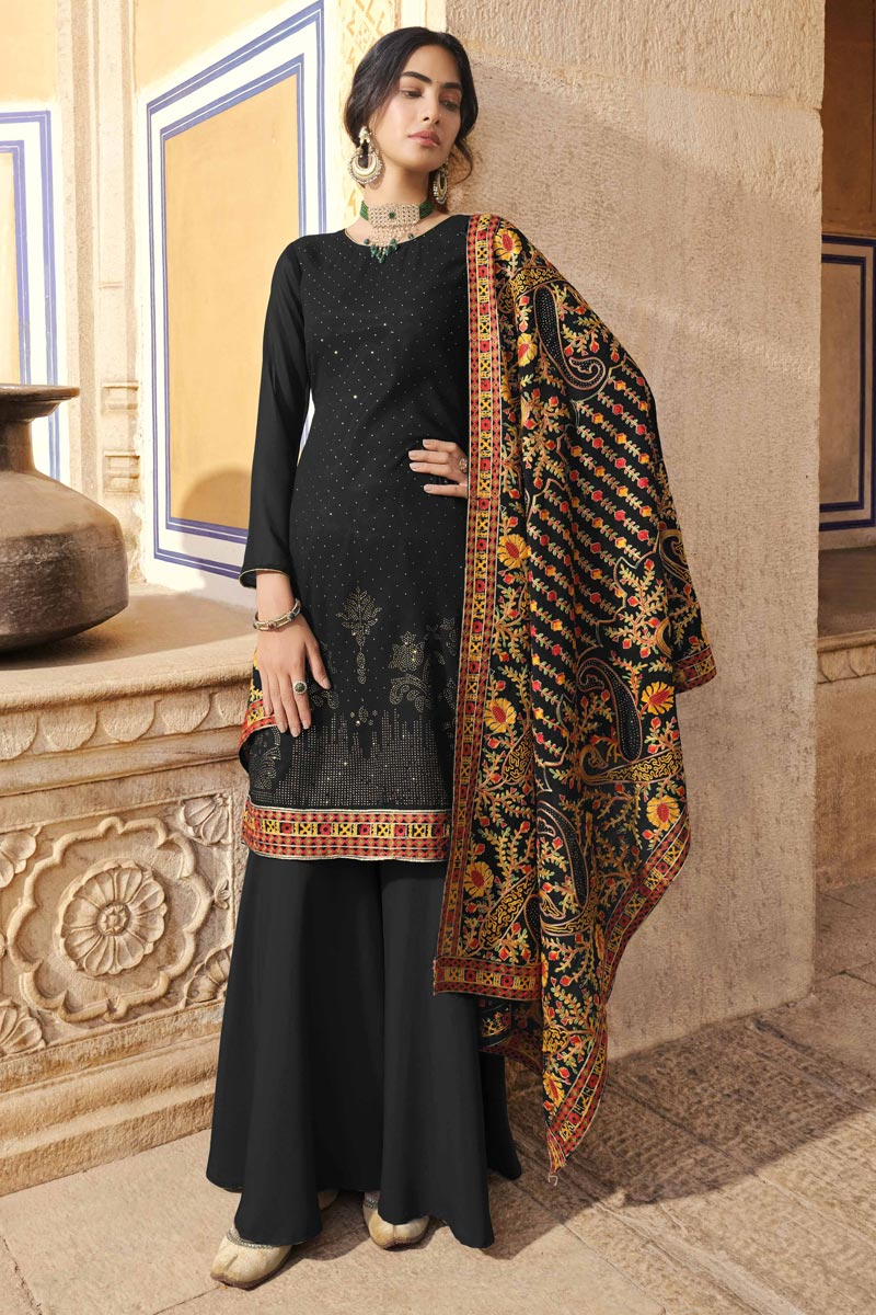 Black Color Party Wear Fancy Palazzo Dress In Georgette Fabric