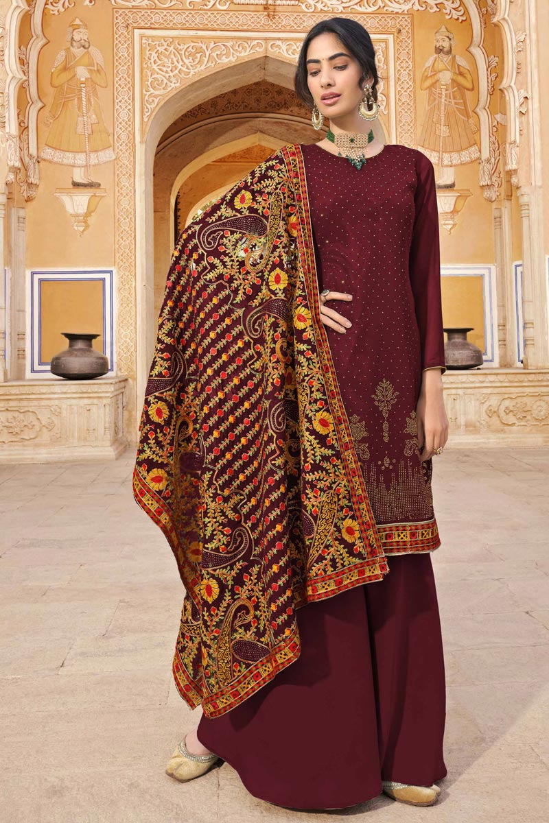 Party Wear Maroon Color Fancy Palazzo Suit In Georgette Fabric