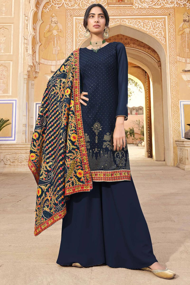 Navy Blue Color Party Wear Fancy Georgette Fabric Palazzo Dress