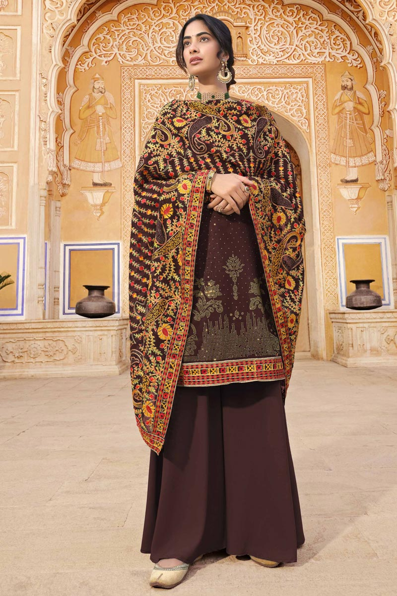Party Wear Fancy Brown Color Palazzo Suit In Georgette Fabric
