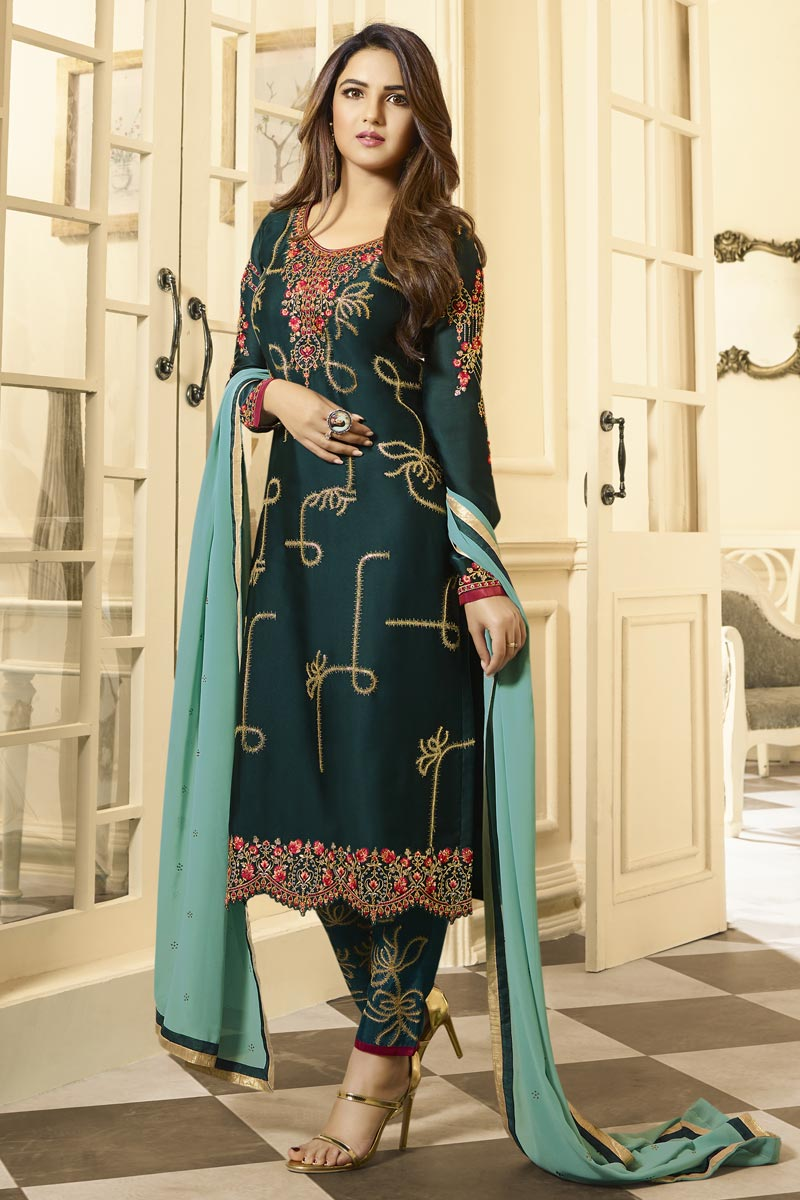 Jasmin Bhasin Teal Color Trendy Embroidered Straight Cut Suit In Satin Georgette Fabric