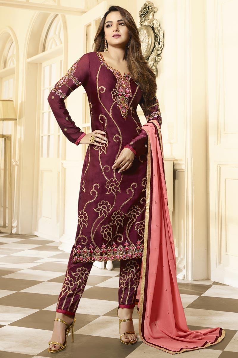 Jasmin Bhasin Maroon Color Trendy Embroidered Satin Georgette Fabric Straight Cut Dress