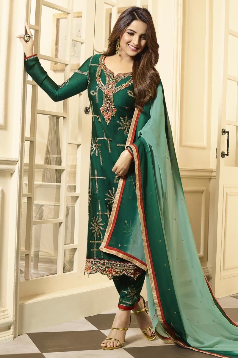 Jasmin Bhasin Green Color Party Wear Embroidered Straight Cut Suit In Satin Georgette Fabric
