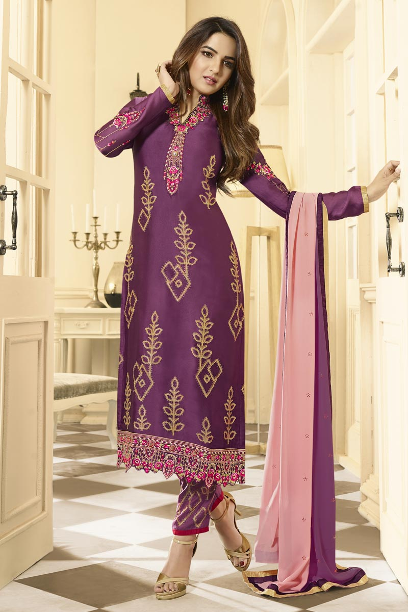 Jasmin Bhasin Party Wear Purple Color Satin Georgette Fabric Embroidered Straight Cut Dress