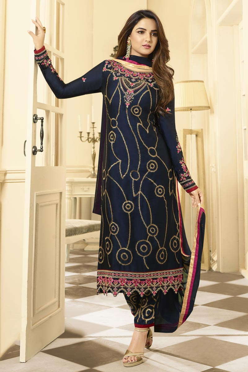 Jasmin Bhasin Satin Georgette Fabric Party Wear Trendy Straight Cut Suit In Navy Blue Color