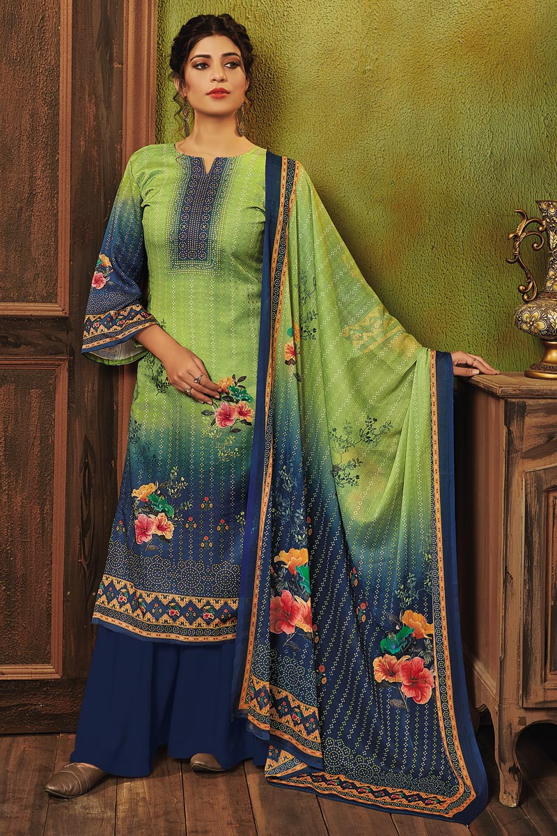 Sea Green Color Fancy Printed Pashmina Fabric Palazzo Suit