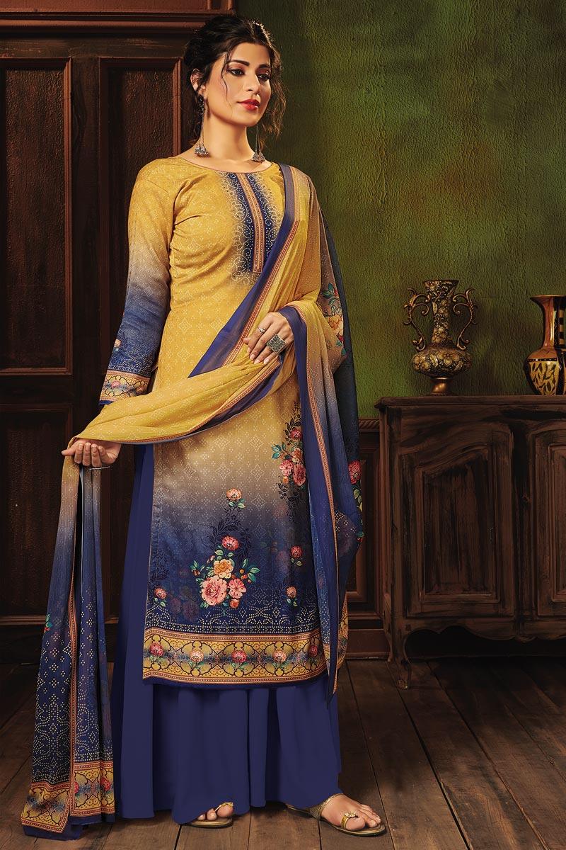 Mustard Color Fancy Printed Pashmina Fabric Palazzo Dress