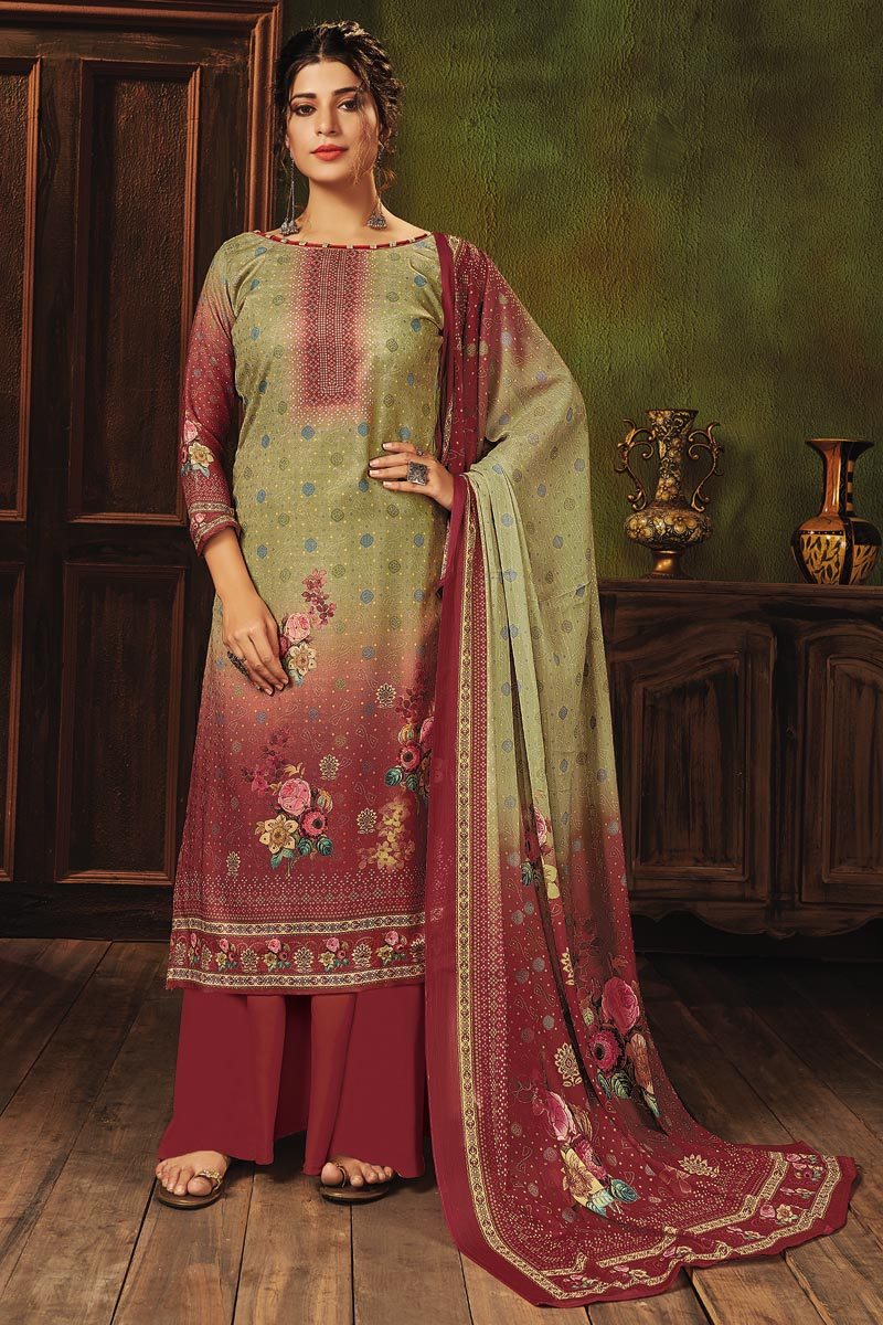Khaki Color Pashmina Fabric Fancy Printed Palazzo Dress