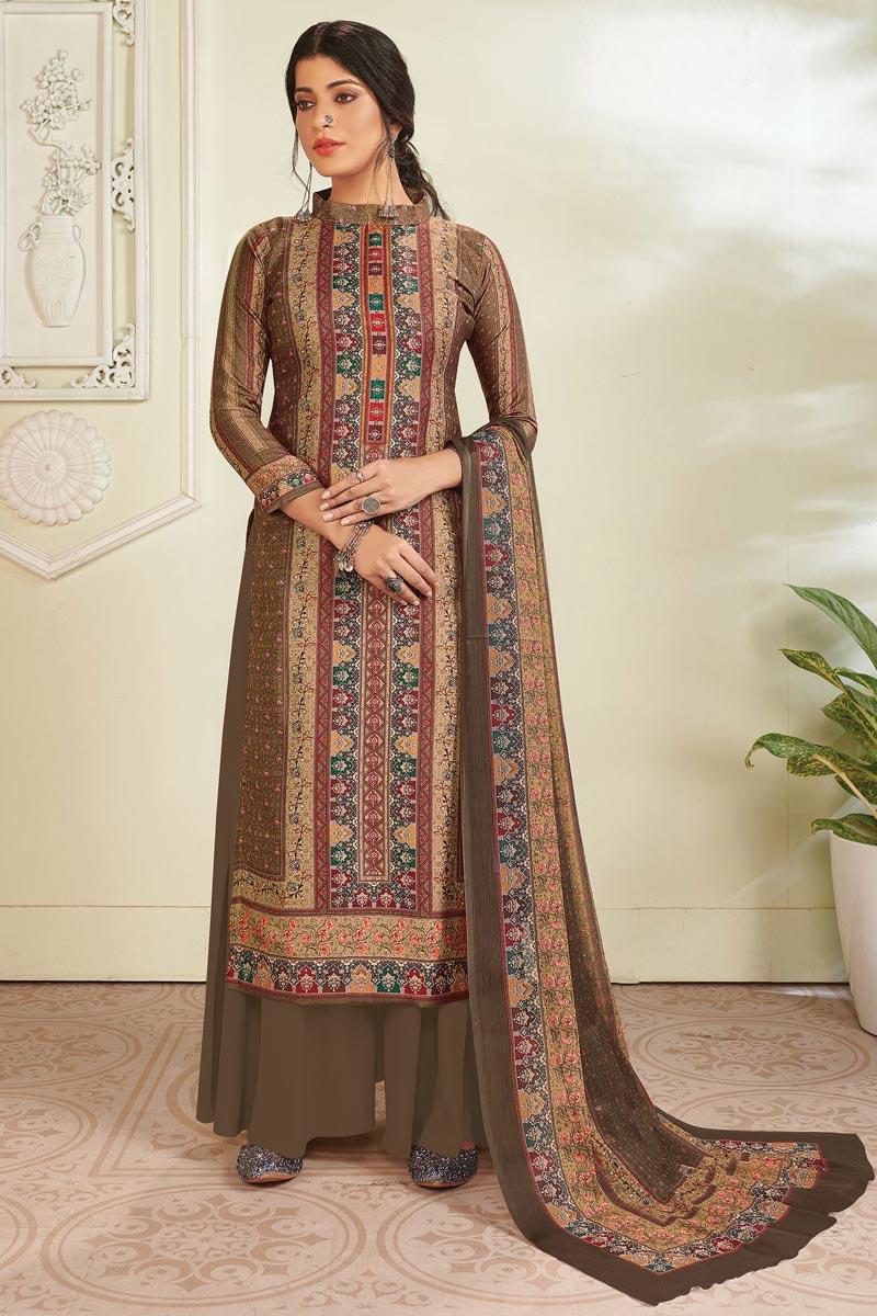Brown Color Fancy Digital Printed Pashmina Fabric Salwar Suit