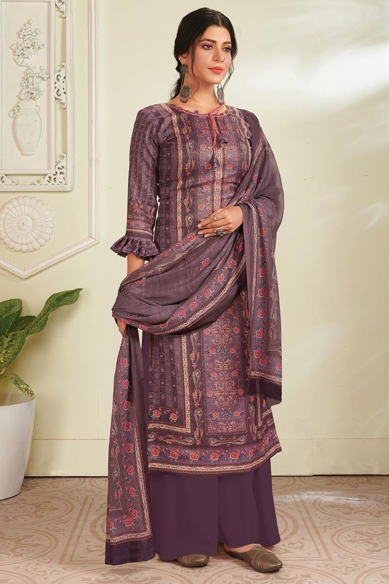 Pashmina Fabric Purple Color Fancy Digital Printed Salwar Suit