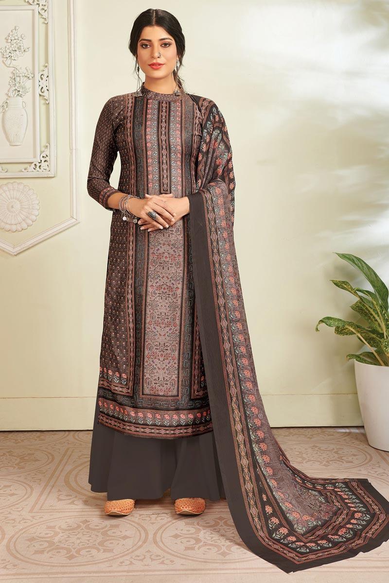 Dark Beige Color Pashmina Fabric Fancy Digital Printed Salwar Kameez