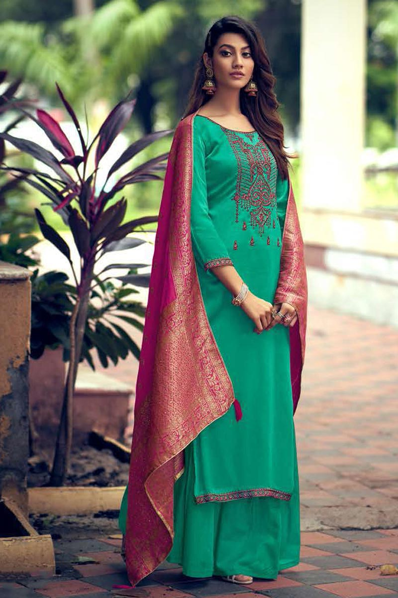 Cyan Color Fancy Embroidered Art Silk Fabric Palazzo Suit