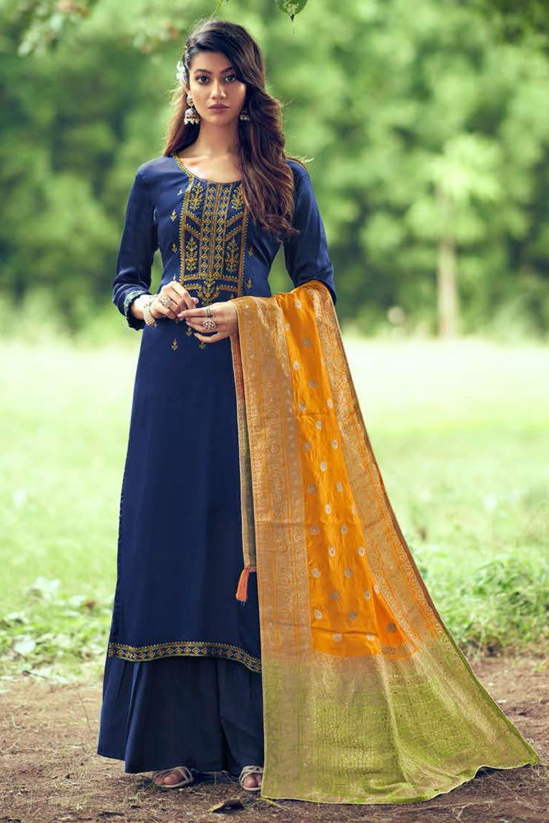 Art Silk Fabric Navy Blue Color Fancy Embroidered Palazzo Suit