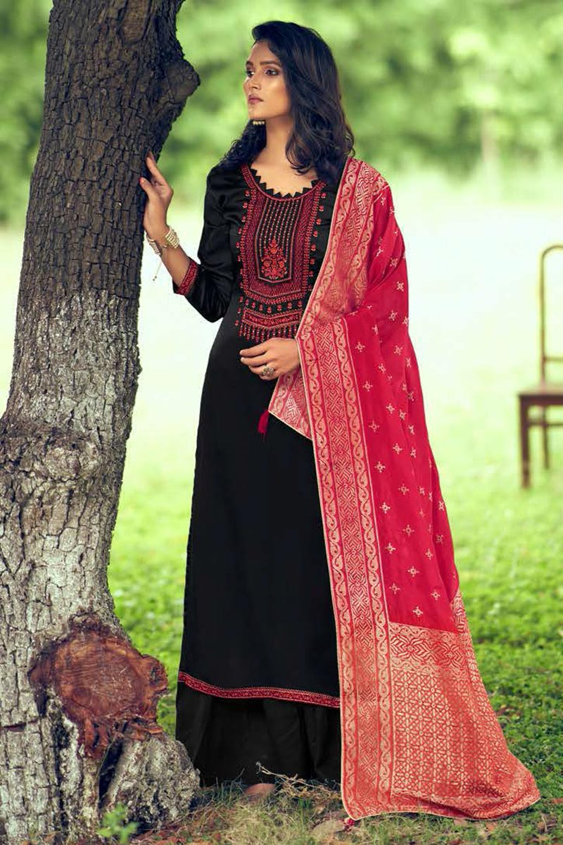Black Color Art Silk Fabric Fancy Embroidered Palazzo Dress