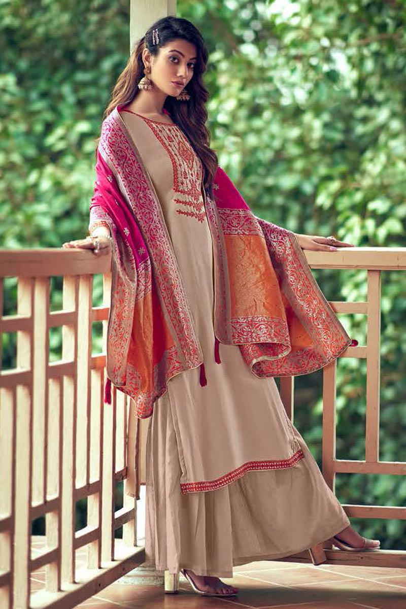 Art Silk Fabric Fancy Embroidered Palazzo Dress In Cream Color
