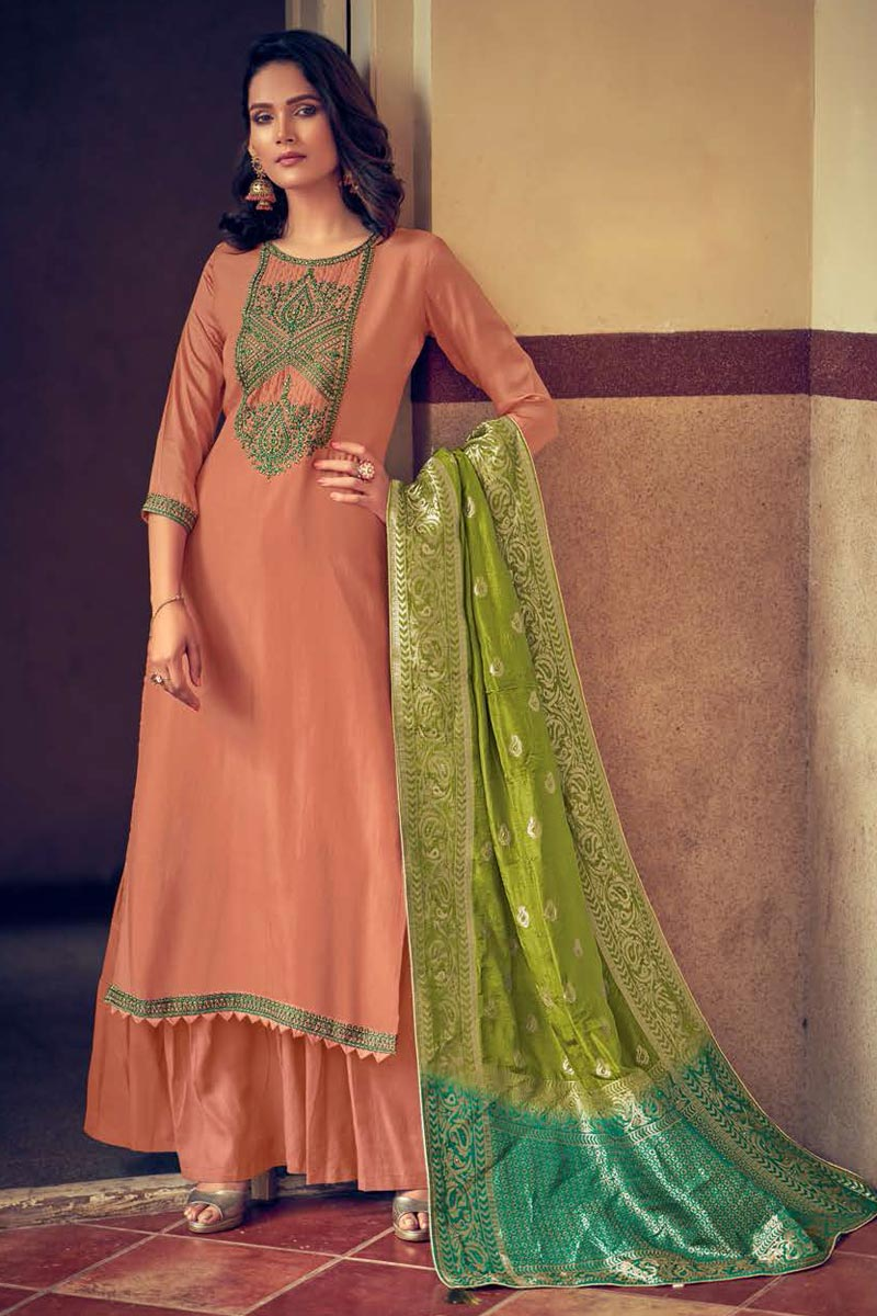 Art Silk Fabric Peach Color Fancy Embroidered Palazzo Suit