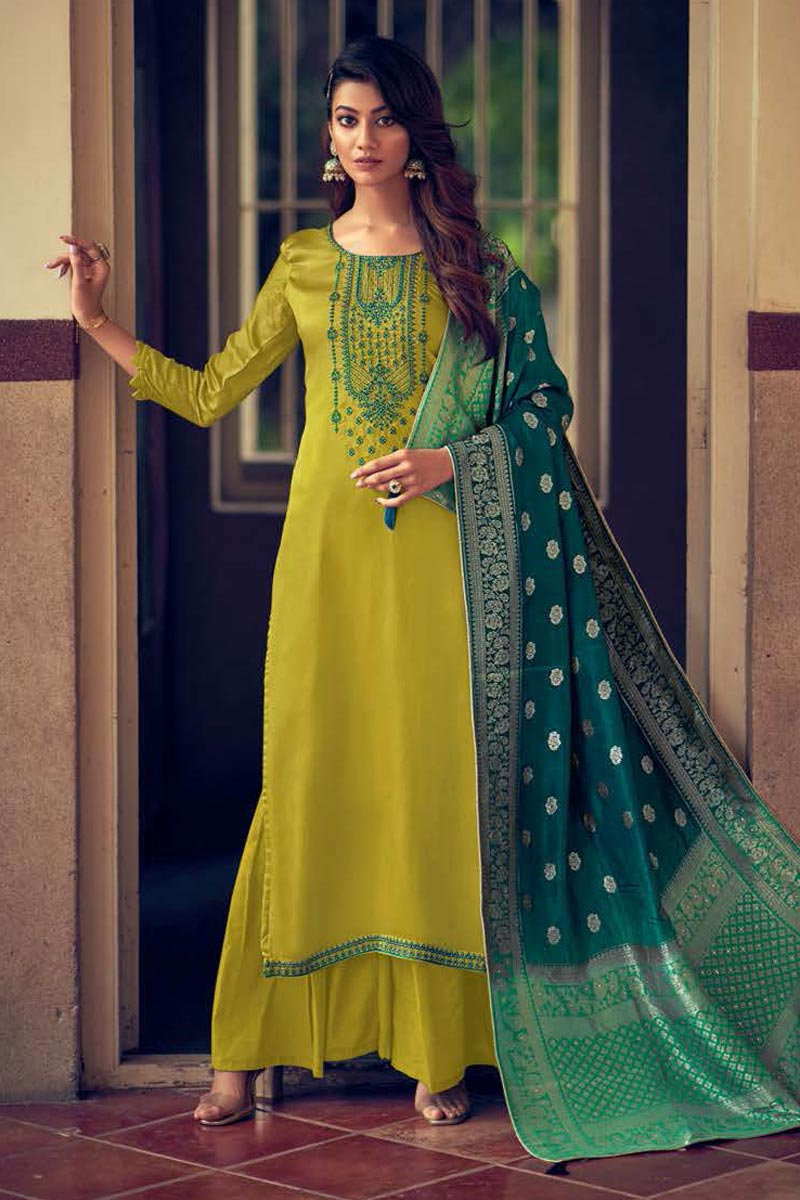 Green Fancy Embroidered Art Silk Fabric Palazzo Suit