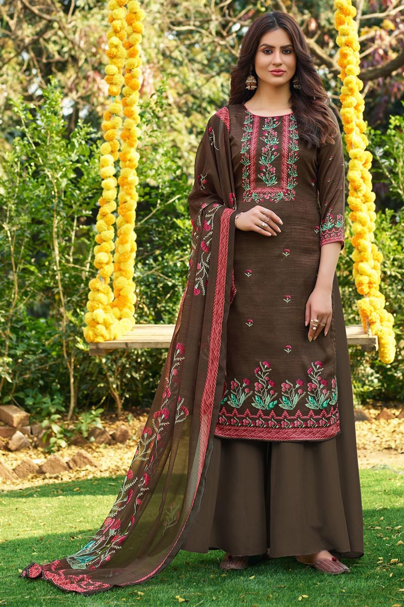 Brown Color Fancy Printed Cotton Fabric Palazzo Suit