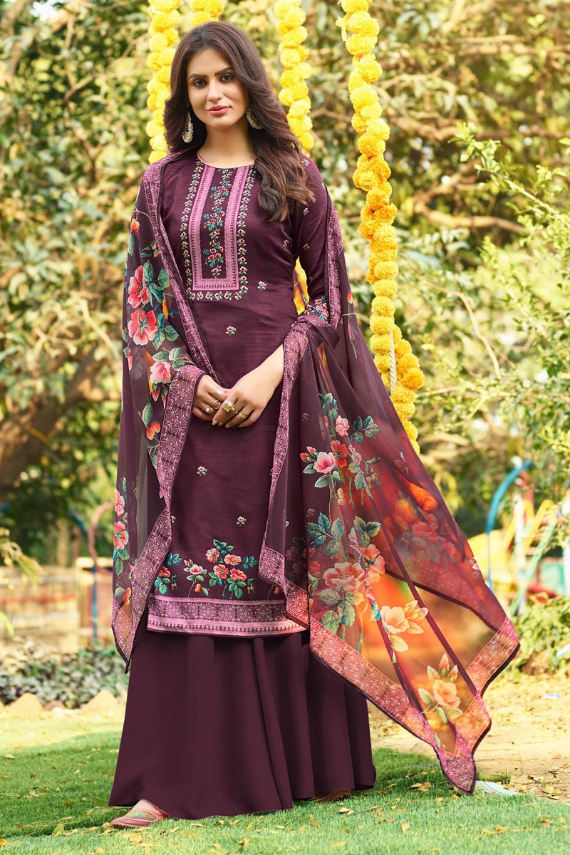 Cotton Fabric Burgundy Color Fancy Printed Palazzo Suit