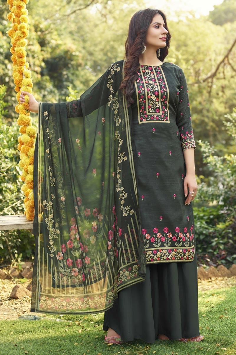 Dark Beige Color Cotton Fabric Fancy Printed Palazzo Dress