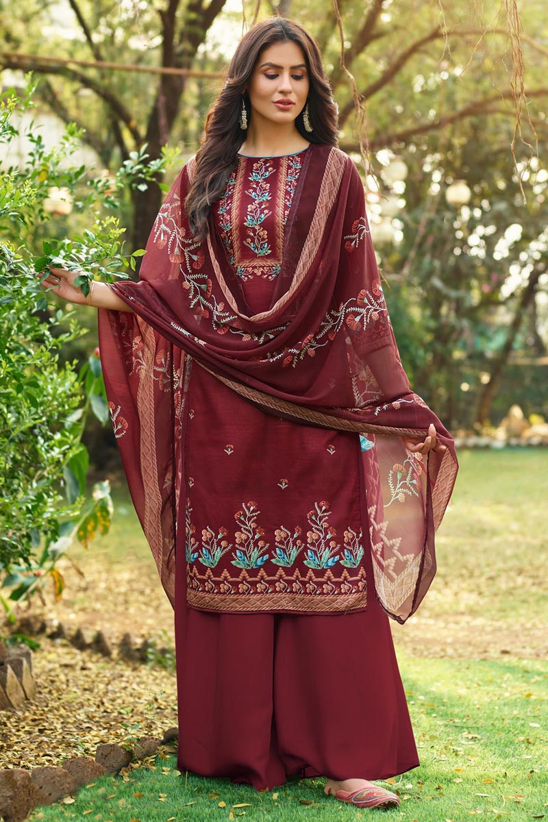 Cotton Fabric Fancy Printed Palazzo Dress In Maroon Color