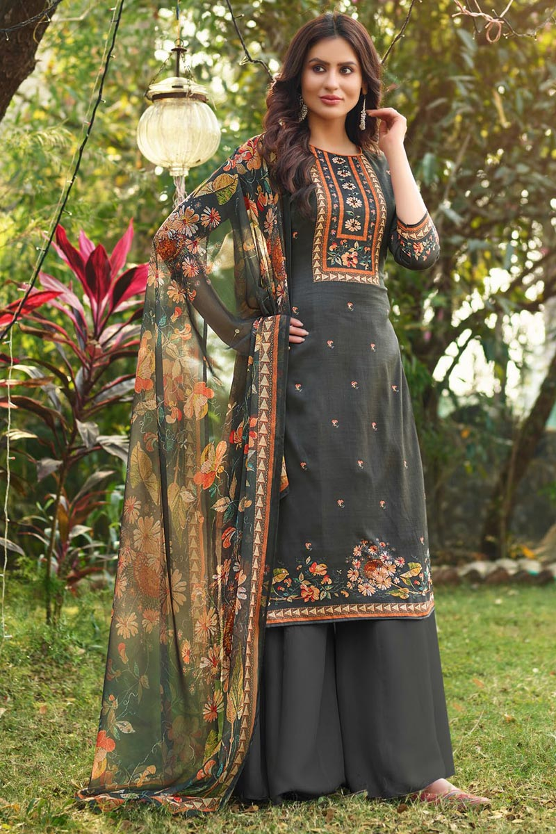 Cotton Fabric Grey Color Fancy Printed Palazzo Suit
