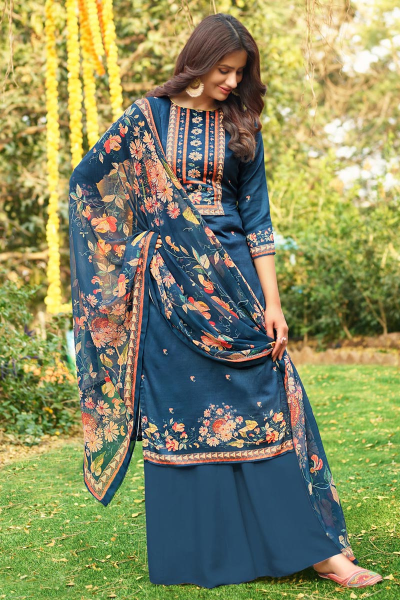 Sky Blue Fancy Printed Cotton Fabric Palazzo Suit