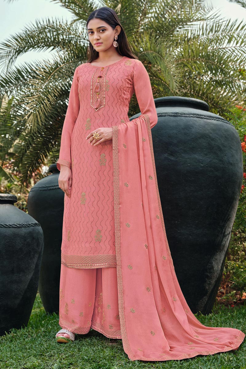 Festive Wear Chinon Fabric Chic Embroidered Pink Color Palazzo Suit