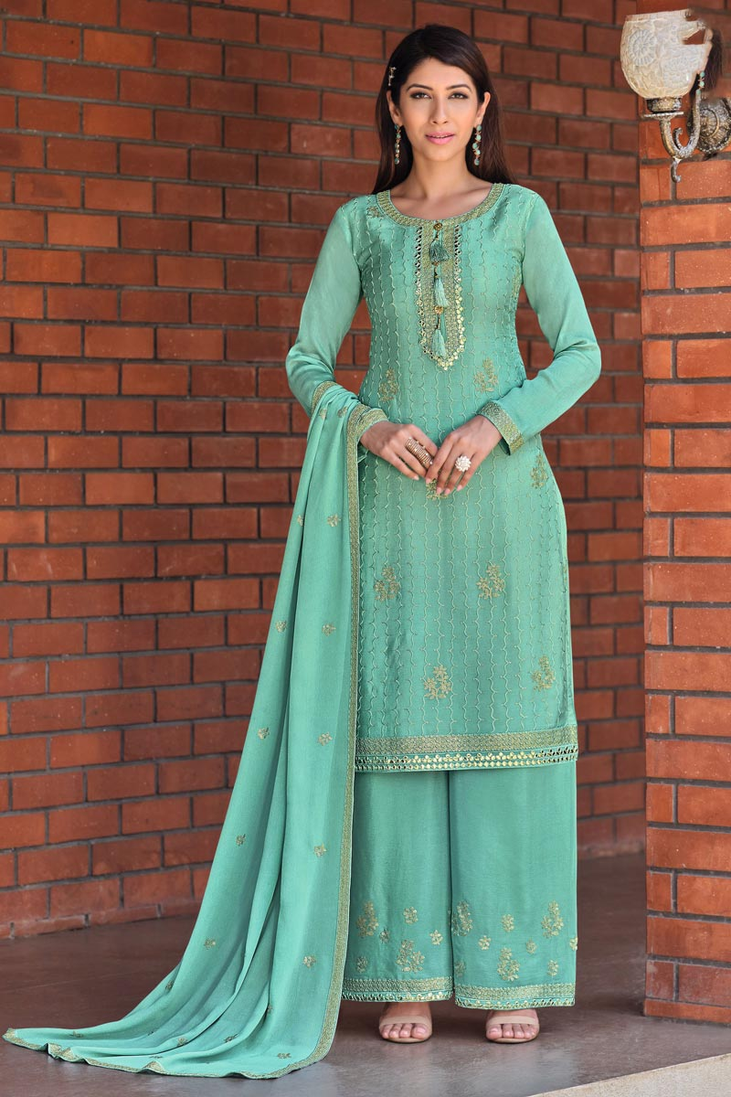 Cyan Color Chic Festive Wear Embroidered Palazzo Suit In Chinon Fabric